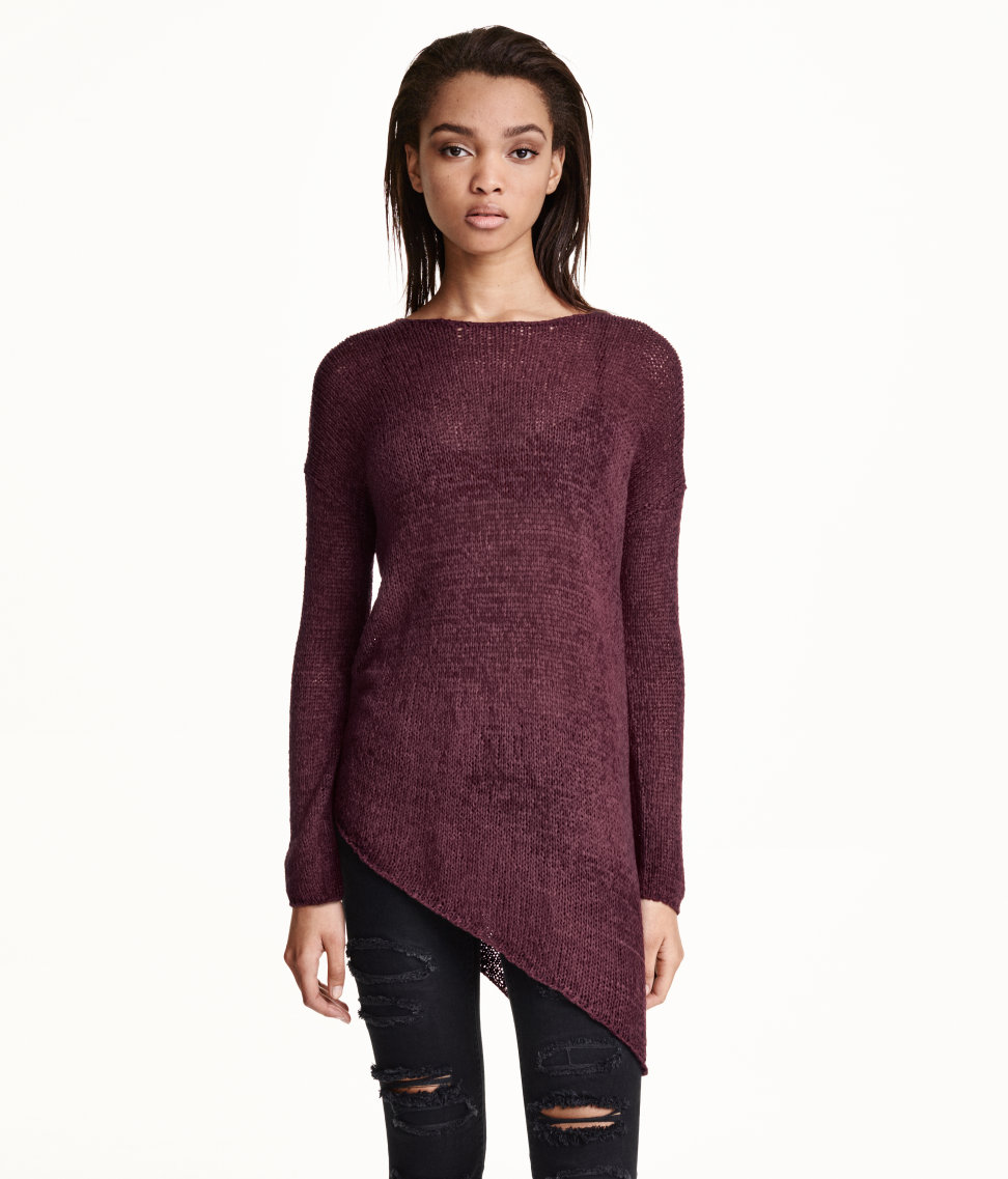 H&M Asymmetric Sweater, $25 at    HM.com   . Also available in black and dark gray.