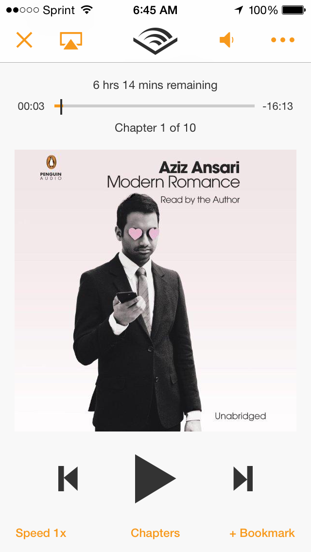 Audible + Modern Romance by Aziz Ansari and Eric Klinenberg, Audible, $14.95/month after free 30-day trial (includes two free audiobooks!). Modern Romance for Audible, $17.50.