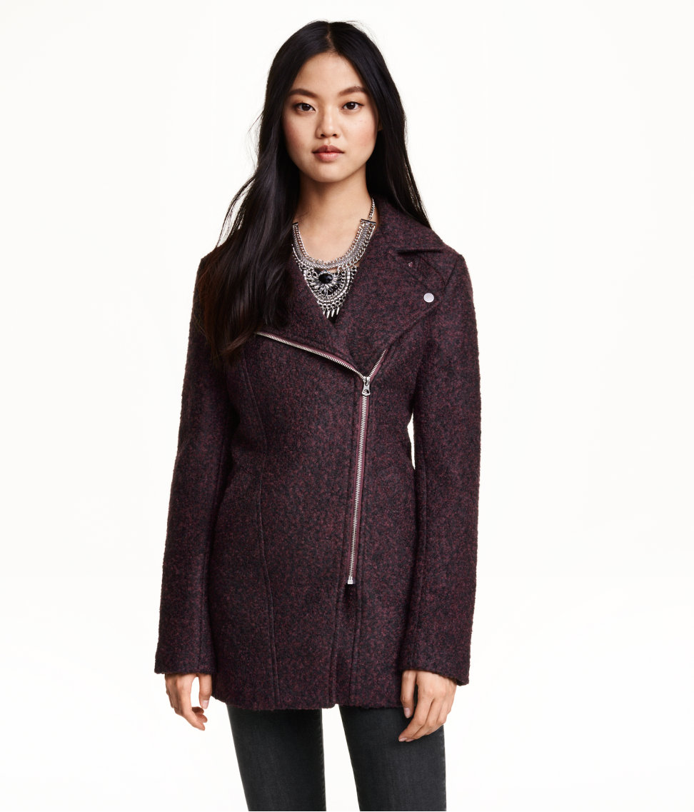 H&M Wool-blend Biker Coat in Dark Plum, $60 at HM.com.