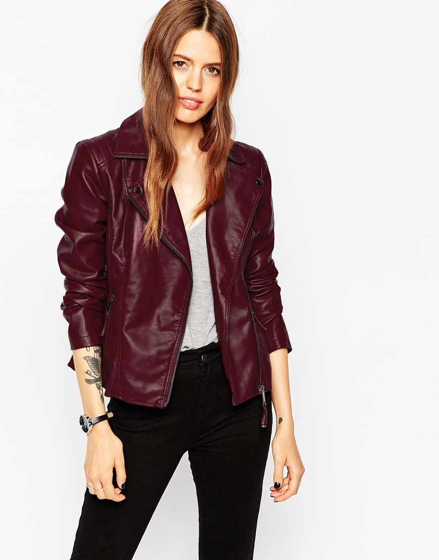 ASOS Ultimate Biker With Stitch Detail in Berry, $86 at ASOS.com.
