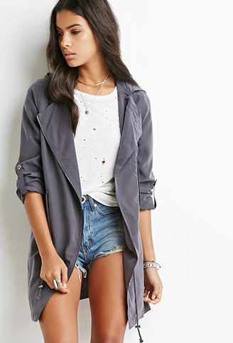 Forever 21 Drawstring Utility Jacket in Charcoal, $40 at Forever21.com.