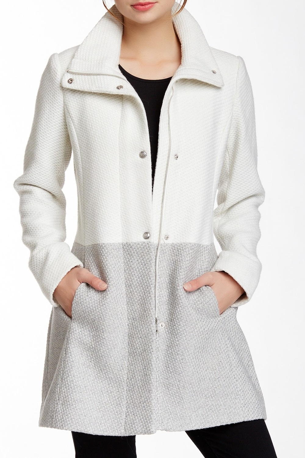 Jessica Simpson Colorblock Textured Knit Coat in Off-White/Gray, $95 at NordstromRack.com (also available in Charcoal/Black).