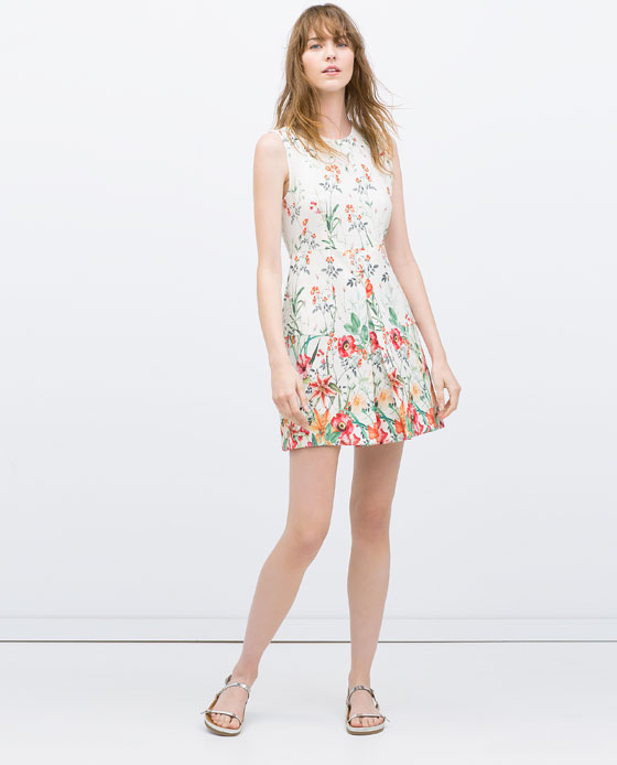 Zara Printed Dress with Pleated Pockets, $80 at Zara.com.