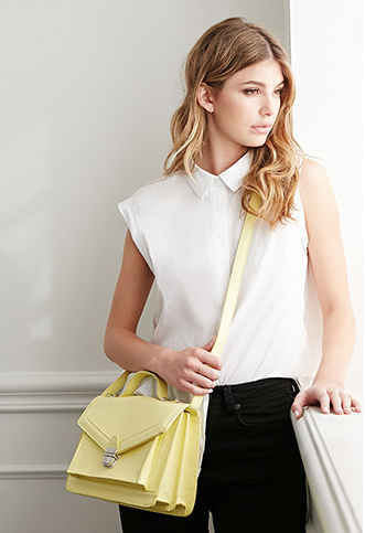 Structured Envelope Crossbody in Yellow (also available in blue and black), $25 at    Forever21.com .