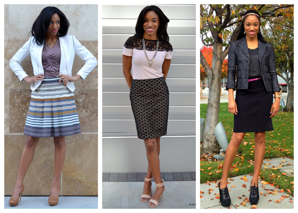 Left to right: White Blazer, Striped Skirt, 3.25.15: http://www.fauxfancy.com/home/2014/3/25/all-business.html Black and Blush, 6.25.14: http://www.fauxfancy.com/home/2014/6/25/black-and-blush.html Shades of Gray: 11.12.13: http://www.fauxfancy.com/home/2013/11/10/shades-of-grey.html