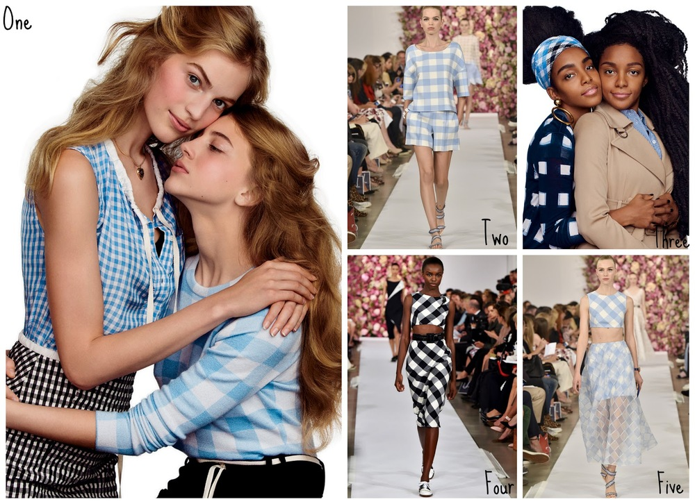 One: Altuzarra worn by the Axente sisters, as seen in    Vogue   . Two:    Oscar de la Renta   . Three: Gingham worn by the Quann Sisters, as seen in    Vogue   . Four:    Oscar de la Renta   . Five:    Oscar de la Renta .