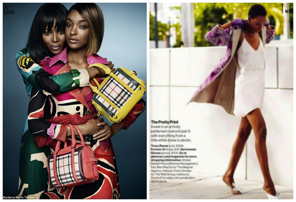 One: Burberry. Two: Tracy Reese, as seen in Glamour.