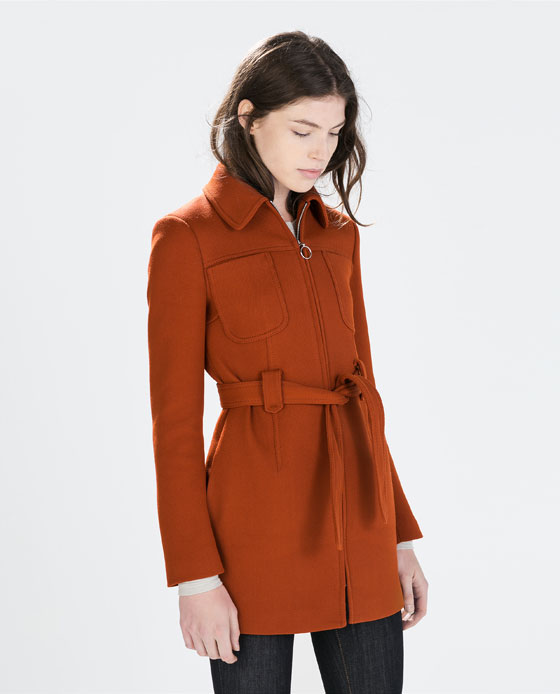 ZARA Coat with front pockets in Brick, $299 at    ZARA.com   .