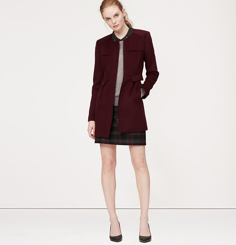 LOFT Collarless Car Coat, $188 at    LOFT.com   .