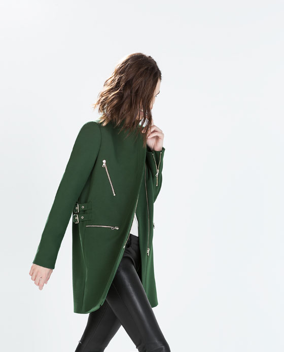 ZARA Zip Buckle Coat in Green, $190 at    ZARA.com   .