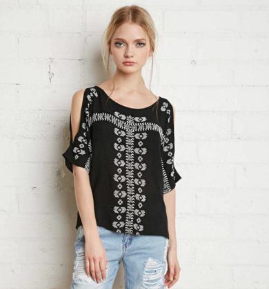Embroidered open-shoulder top, $25 at Forever21.com.