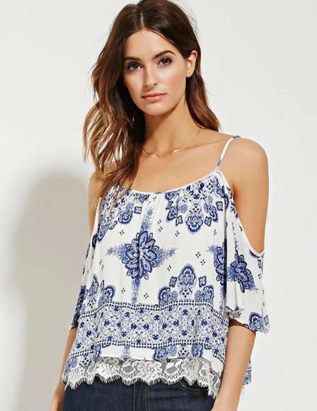 Contemporary floral top, $23 at Forever21.com.