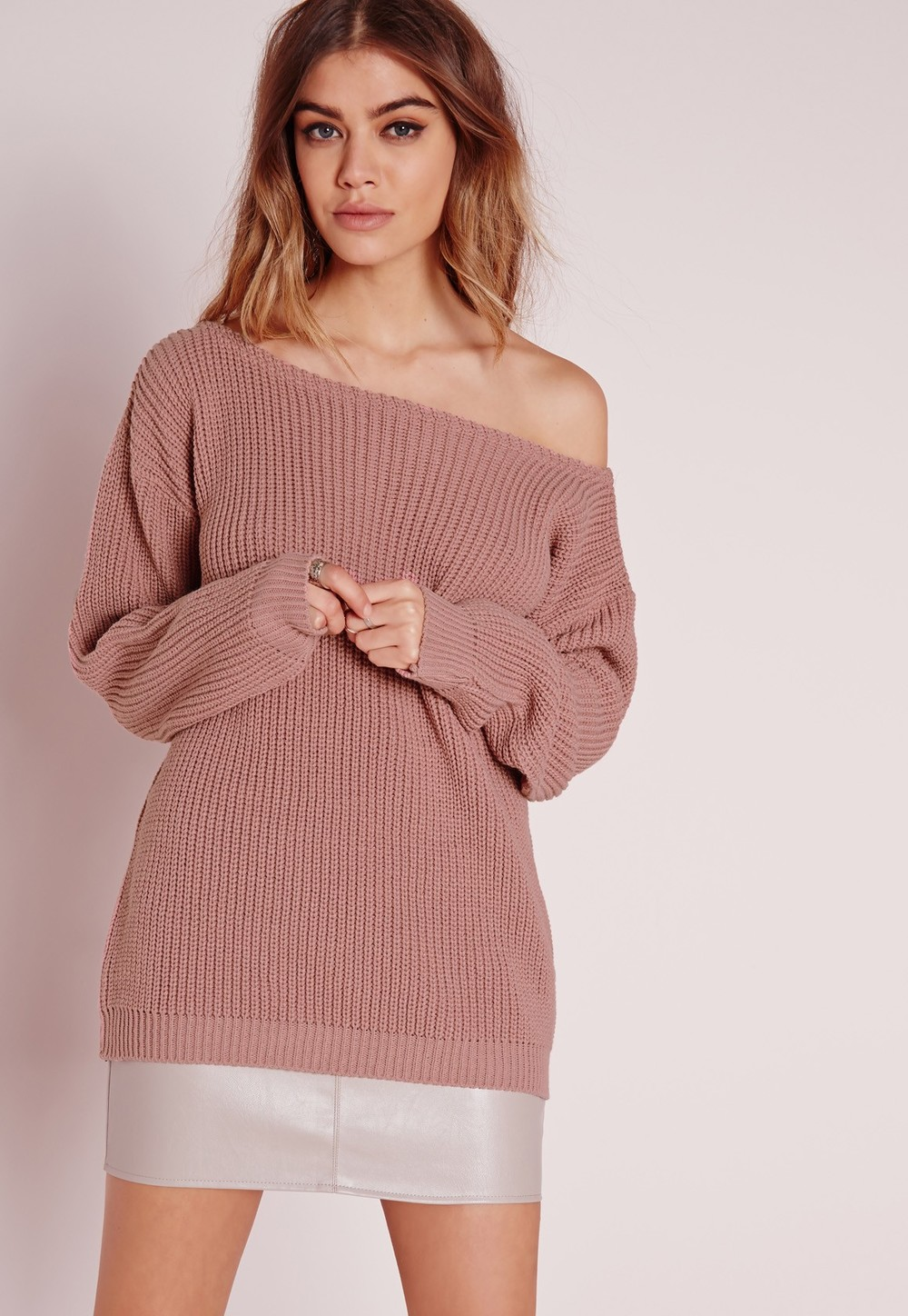 Pink off the shoulder sweater, $26 at MisguidedUS.com.