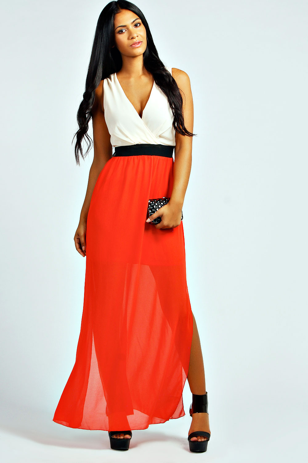 Boohoo Alesha Colour Block Maxi Dress, $50 at  Boohoo.com .