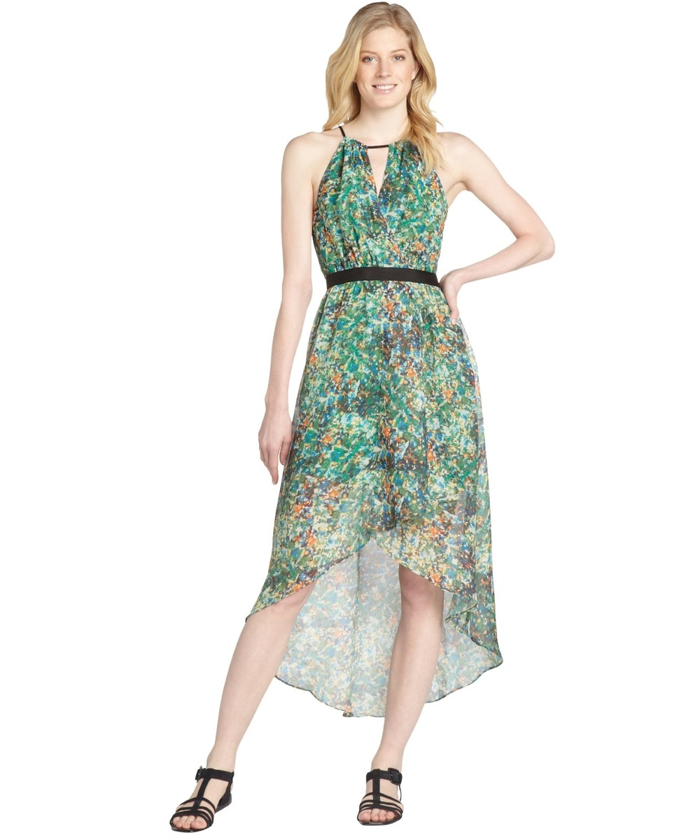 Wyatt Green And Blue Printed Hi-Low Dress, $80 at  Bluefly.com .