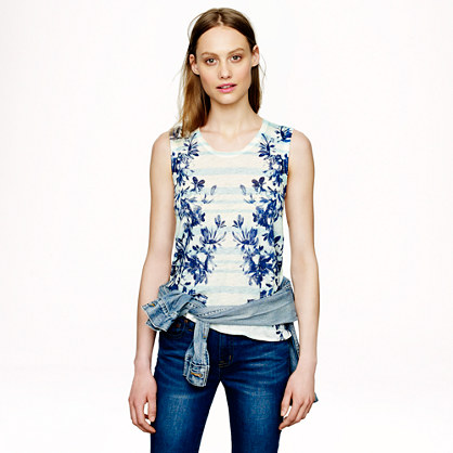 J.Crew Linen Tank in Photo Floral, $40 at JCrew.com.