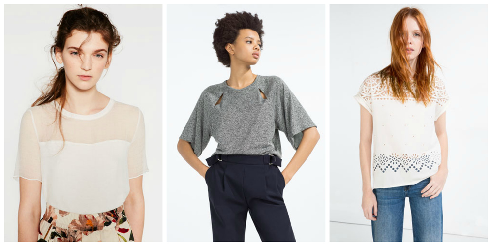 I wasn't planning to only include options from Zara, but their top game is seriously strong. From left to right: Contrast Sheer T-Shirt, $23; T-Shirt with Slits in Grey Marl, $23; Devoré T-Shirt in Off-White, $23.