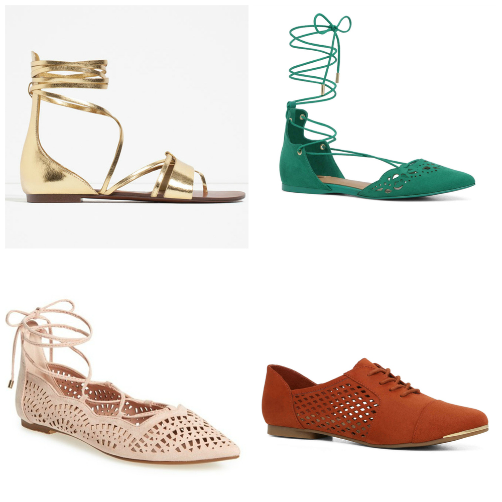Clockwise from top left: Flat Lace-Up Sandals in Gold, $50 at Zara.com; Harmony Flat in Medium Green, $60 at Aldo.com; Glaniel Flat in Rust, on Sale for $25 at Aldo.com; Topshop 'N Fase Laser' Ghillie Flat, $48 at Nordstrom.com.
