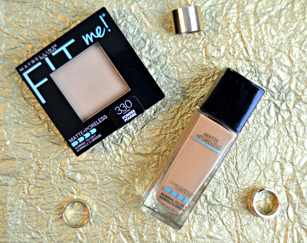 Maybelline FIT ME! Matte + Poreless Foundationand Powder, both in the color Toffee, $6 each at Target.com.