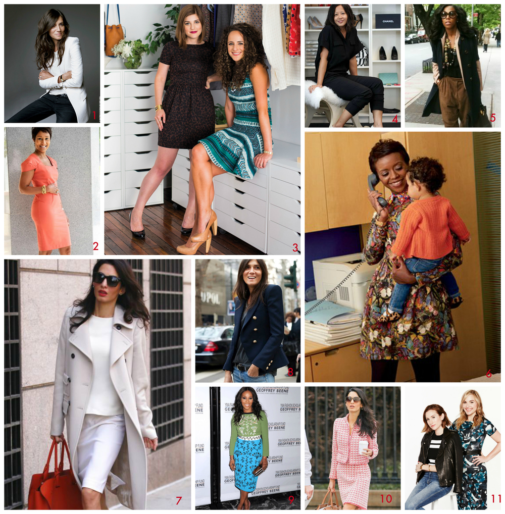 1) Emmanuelle Alt; 2) Desiree Rogers; 3) Claire Mazur and Erica Cerulo; 4) Tracy Sun; 5) June Ambrose; 6) Mellody Hobson; 7) Amal Clooney; 8) Emmanuelle Alt; 9) June Ambrose; 10) Amal Clooney; 11) Hillary Kerr and Katherine Power.