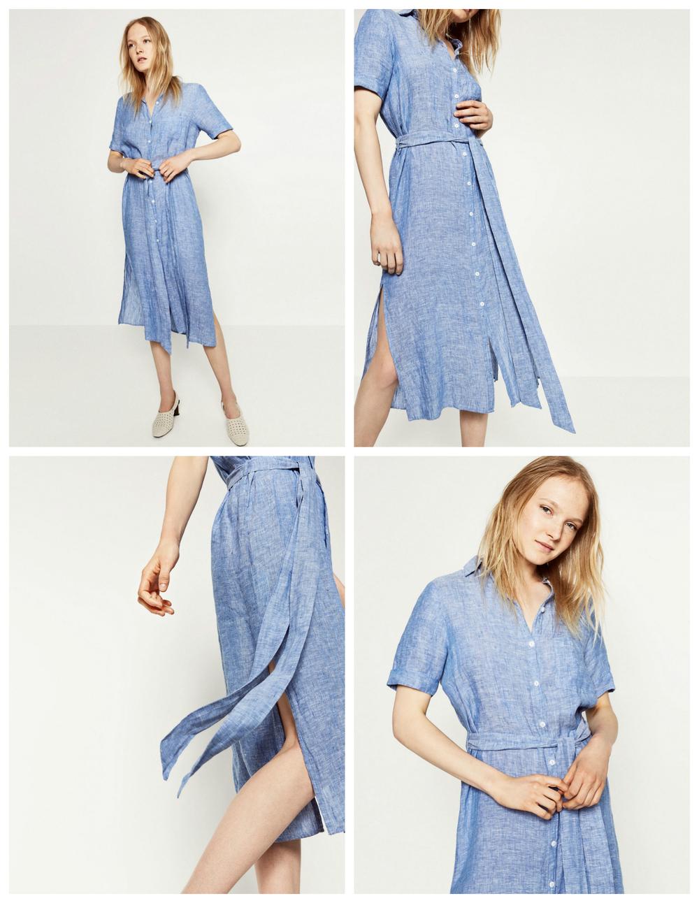 Zara Linen Shirt Dress, $70 at Zara.com.
