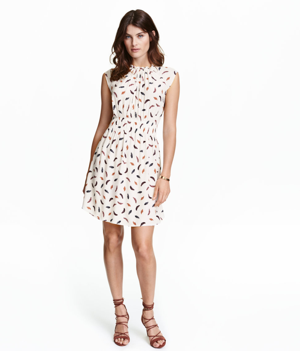 H&M Crinkled Dress in White/Feathers, $35 at    HM.com