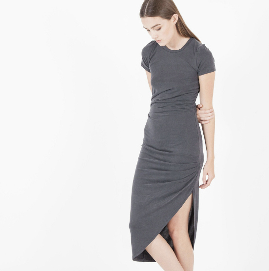 Aya Cupro Draped Twist Dress in Charcoal, $102 at    Modern-Citizen.com .