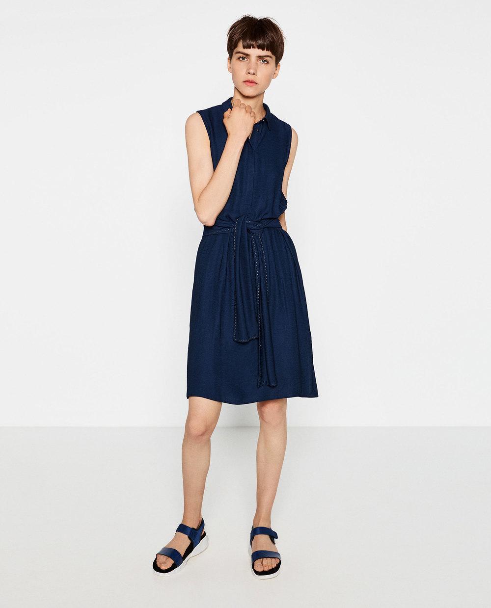 Zara Lace-Up Shirt Dress, $50 at    Zara.com   .