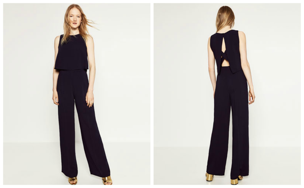 Zara Jumpsuit with Open Back, $100 at    Zara.com .