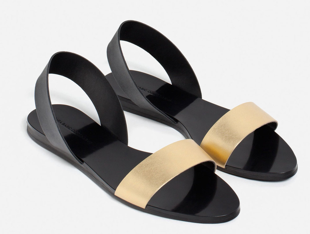 Zara Flat Metallic Leather Sandals, $29.90 at Zara.com.