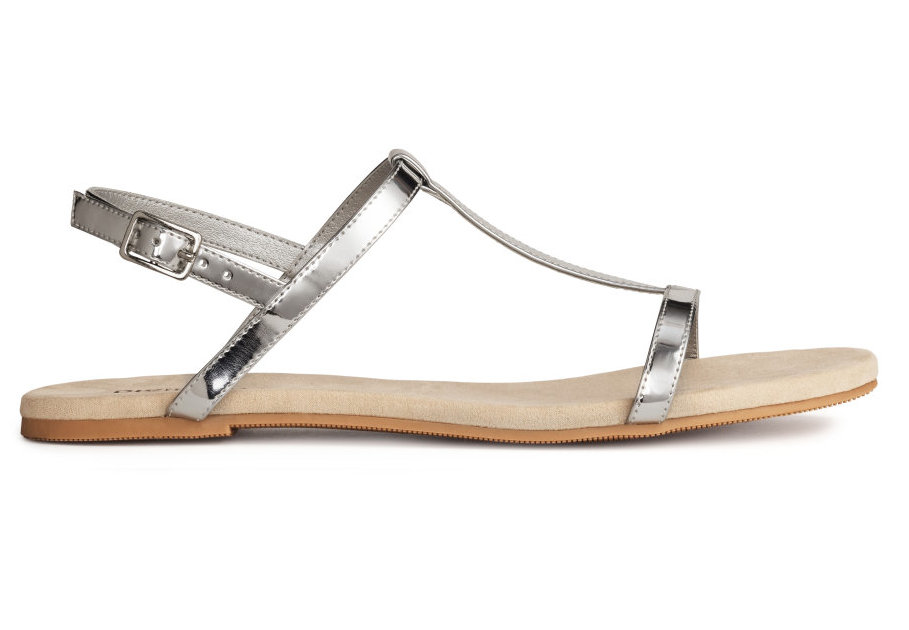 H&M Strappy Sandals in Silver, $8 at HM.com (also available in black and brown).
