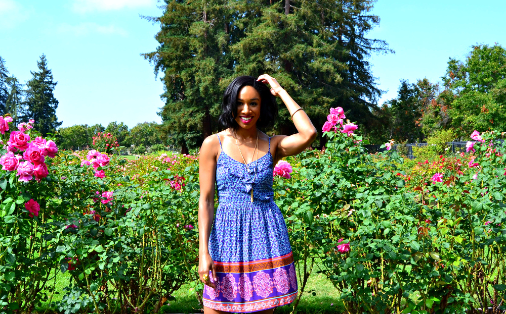 Dress: Xhilaration. No longer available, but numerous other cute, affordable options can be found at Target, here. Location: the beautiful San Jose Municipal Rose Garden.