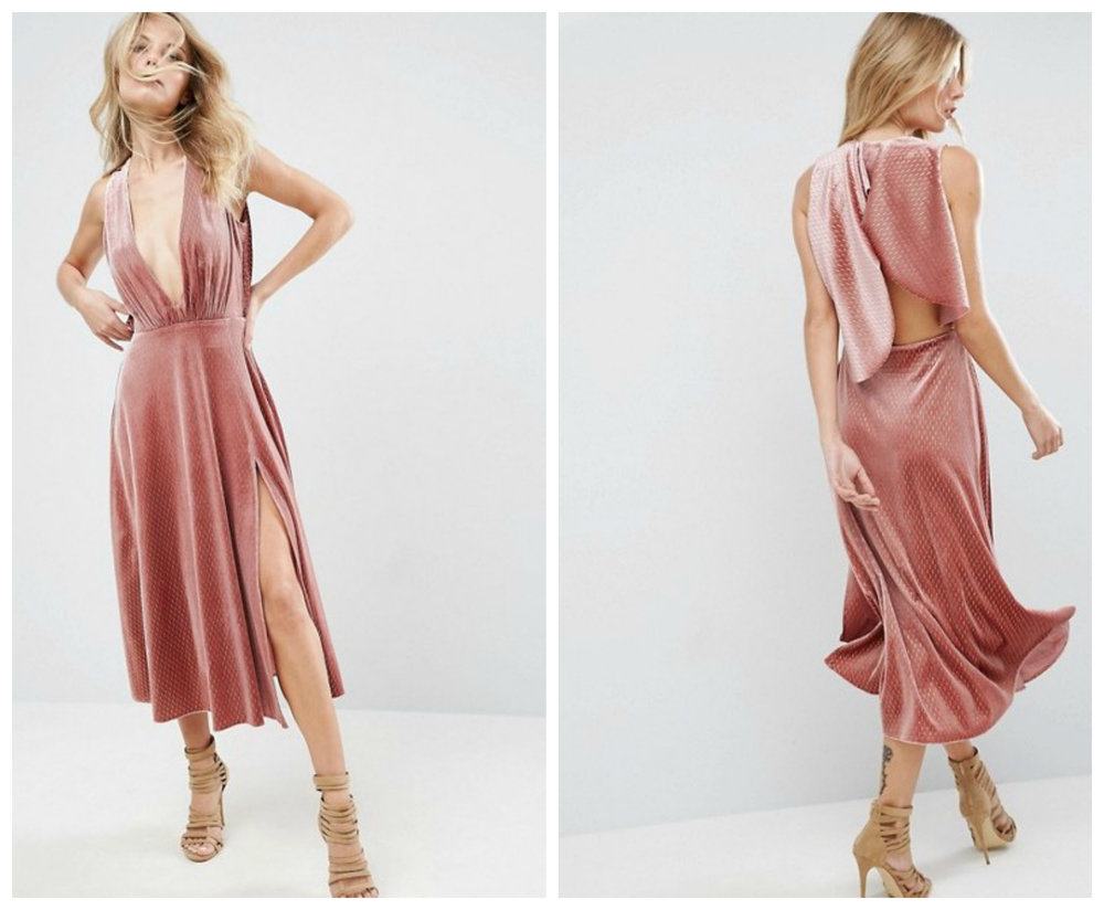 ASOS Velvet Metallic Drape Open Back Midi Dress, $83 at    ASOS.com .