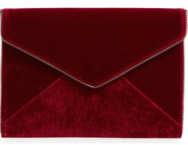 Rebecca Minkoff Leo Velvet Envelope Clutch in Soft Berry (also available in dark blue), $95 at    Nordstrom.com .
