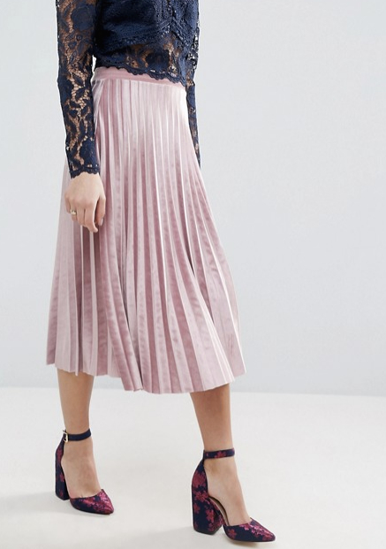 ASOS Pleated Midi Skirt in Velvet, $57 at    ASOS.com.