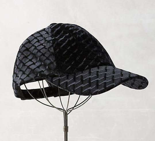 Textural Velvet Baseball Cap, $38 at    Anthropologie.com .