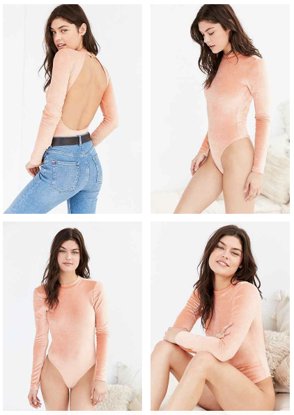 Out From Under Velvet Open Back Bodysuit in Pink (also available in dark green), $29 at    UrbanOutfitters.com .