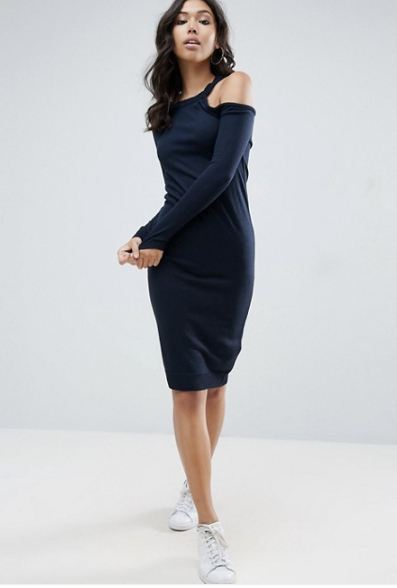 ASOS Knitted Midi Dress With Cold Shoulder Detail in Navy, $46 at ASOS.com.