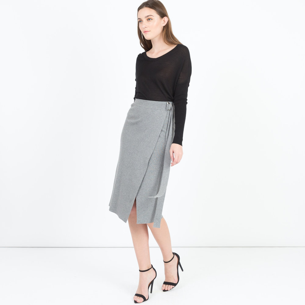 Aerin Tie-Waist Knit Skirt in Grey, $62 at ModernCitizen.com.