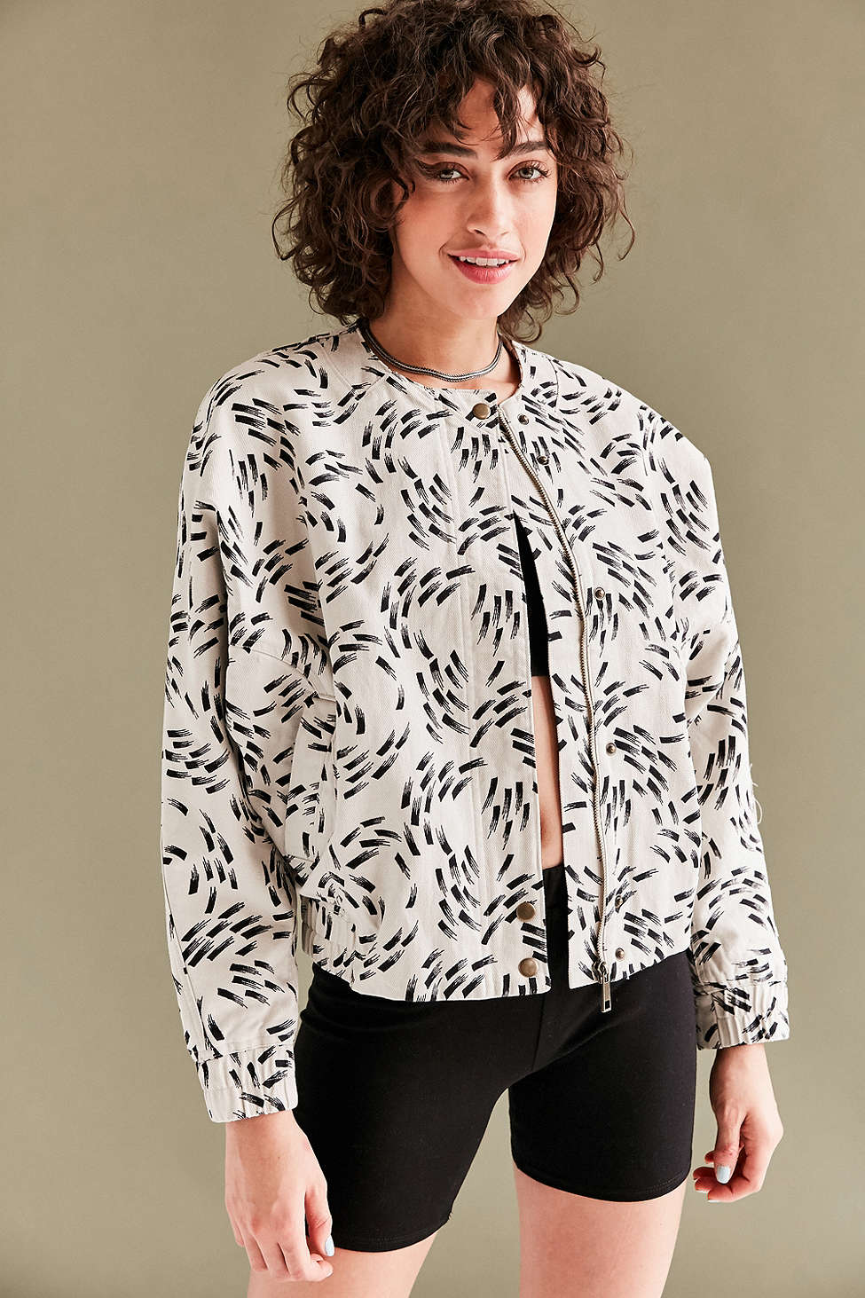 Silence + Noise Lara Dolman-Sleeve Utility Bomber Jacket in Cream Multi, $89 at UrbanOutfitters.com.