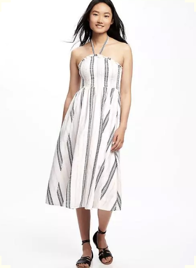 Fit & Flare Halter Dress for Women, $44