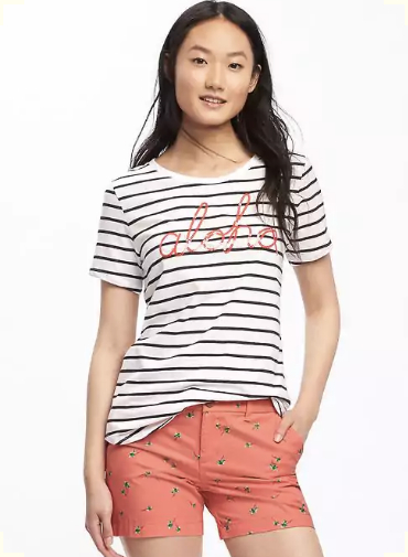 Relaxed Graphic Curved-Hem Tee for Women in Aloha, $12