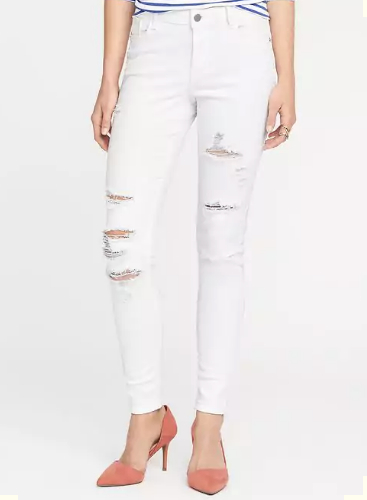 Mid-Rise Rockstar Distressed Jeans in Bright White, $40
