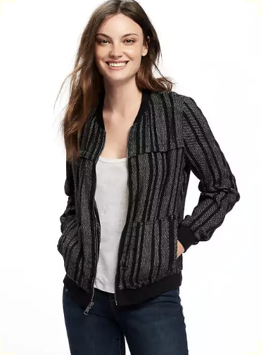 Striped Linen-Blend Bomber Jacket for Women in New Black Stripe, $38