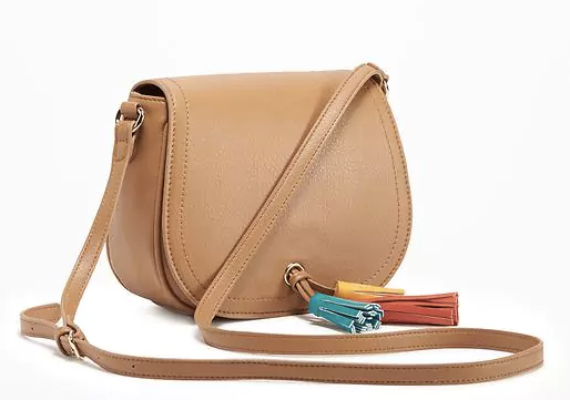 Tassel Saddle Bag for Women in Tan, $30