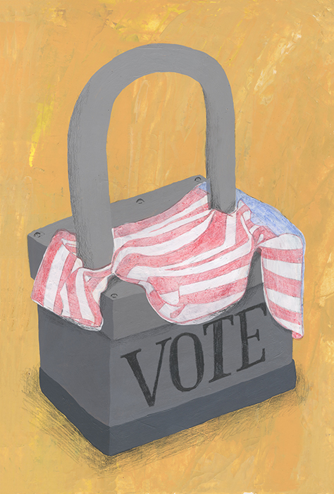 Restricts on Voting Laws  acrylic, graphite and color penciel on illustration board