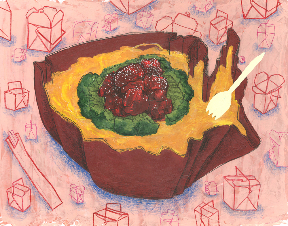 Lo Mein Loophole: How U.S. Immigration Law Fueled A Chinese Restaurant Boom  acrylic, gouache, ink and colored pencil on illustration board