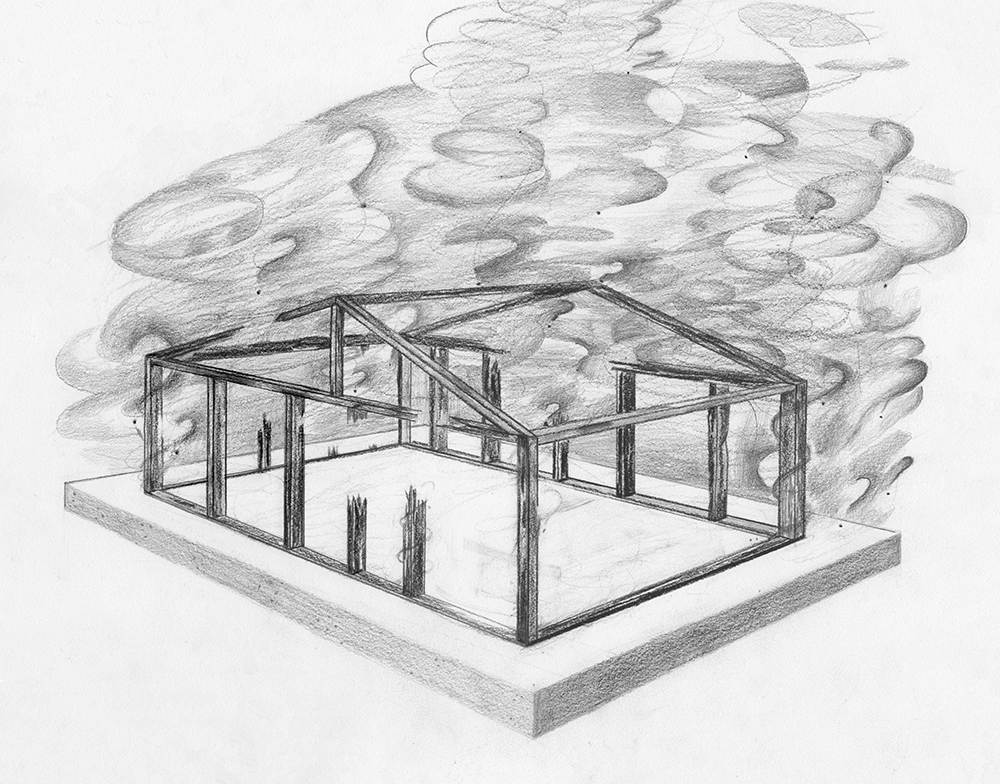 Who Burned Down Farmworker Housing in Nipomo, California?  graphite on paper