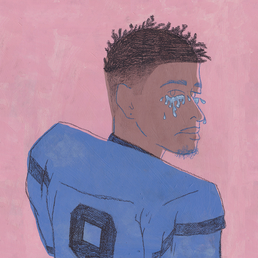 QUARTERBACK  acrylic and graphite on wood