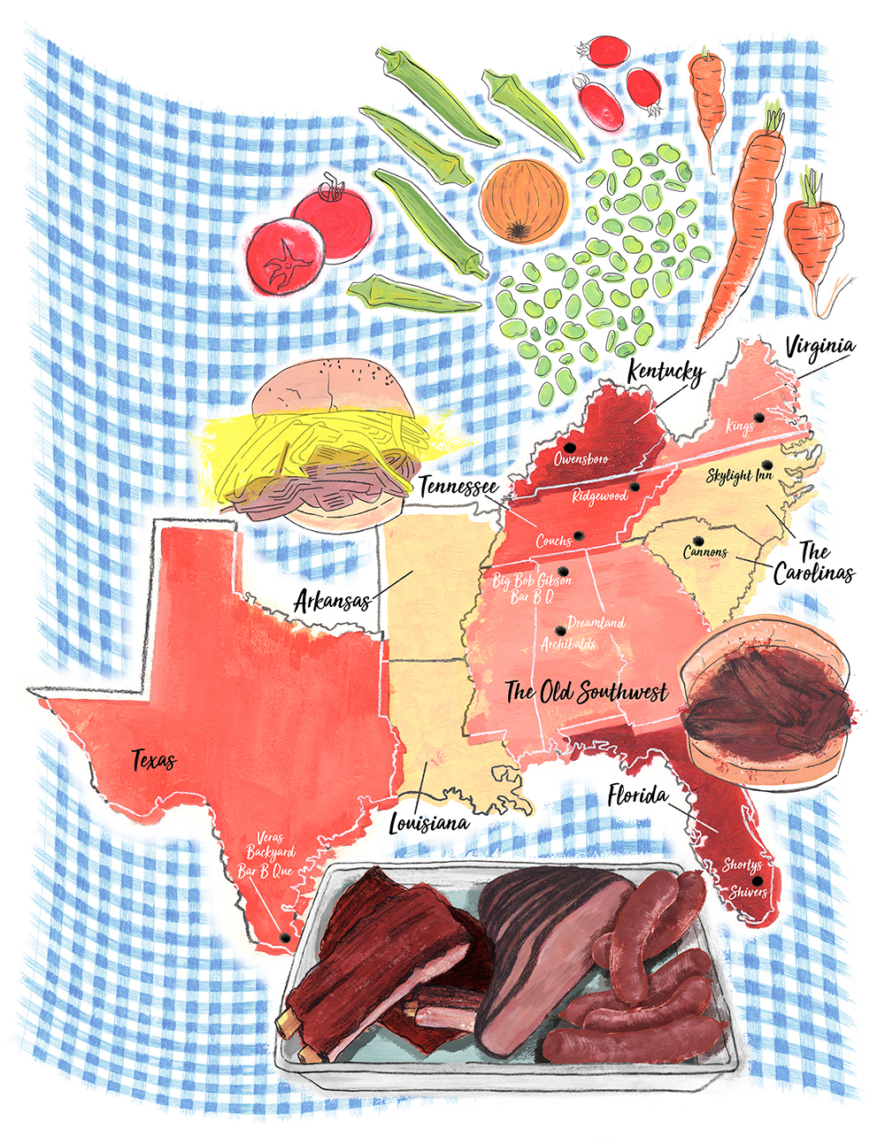 BARBECUE NATION  Client:  The Local Palate  acrylic, gouache, graphite, ink and color pencil digitally collaged together